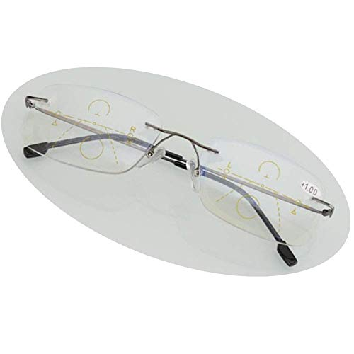 BBGSFDC Gafas de Lectura Luz Anti-Azul Zoom Inteligente Sin Marco/Progresivo Multi-Fatigue Masculino y Hembra Gafas de Lectura - 5 Diopter 2 Colores Grey- + 3.0