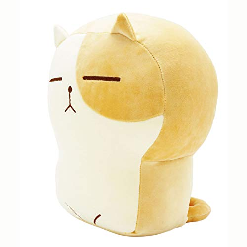 Plush Cat Doll Pillow Stuffed Chubby Cat Cute Fluffy Soft Plush Bread Toast Cat Cushion Animal Pillow for Kids (Brown White, 17.7 inch)