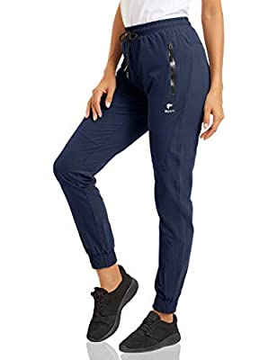 MAGCOMSEN Women Yoga Pants High Waisted Sweatpants Women Running Pants Joggers Pants with Phone Pockets Quick Dry Lightweight Fall Hiking Pants Navy