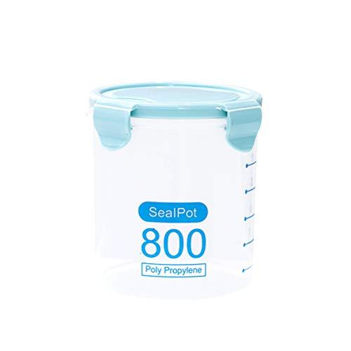 Bestonzon Boîte de conservation hermétique en plastique étanche avec couvercles de verrouillage pour céréales, farine, sucre et riz Bleu 800 ml
