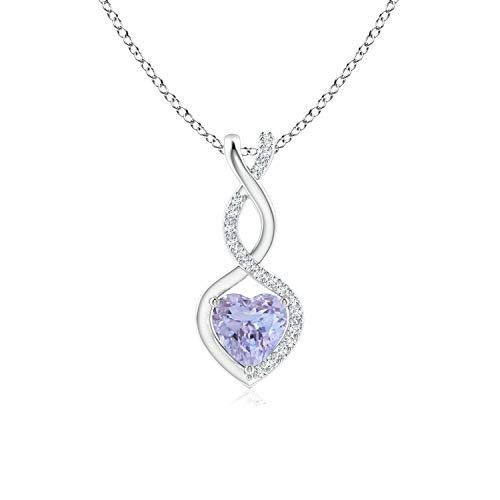 Tanzanite Infinity Heart Pendant Necklace with Diamonds in Silver (5mm Tanzanite)
