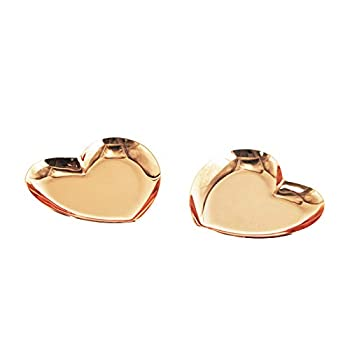 Davi Atelier 2PCS Heart-Shaped Stainless Steel Ring Dish Jewelry Tray Small Trinket Pallet 3.6 x 3.4 Inches  Rose Gold Tone   Heart-Shaped