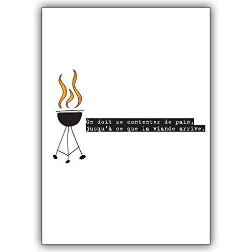 16 Einladungskarten (16er Set): Französische Einladungskarte zum Grillen: On doit se contenter de pain. • laden Sie Freunden & Familie ein um die schönsten Momente des Lebens zu feiern