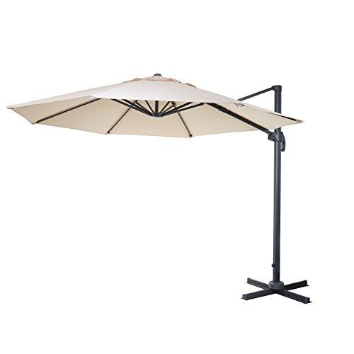 Mendler Gastronomie-Ampelschirm HWC-A96, Sonnenschirm, rund Ø 4m Polyester Alu/Stahl 27kg ~ Creme ohne Ständer, drehbar