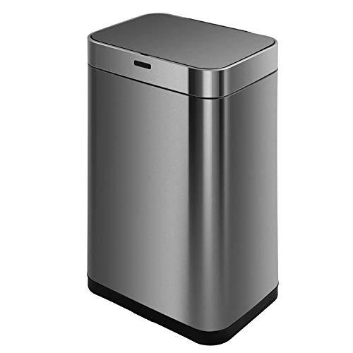 KITCHEN MOVE BAT-60LS18-1 - Papelera de Cocina automático (60 L, Acero y Negro, 42 x 30 x 77 cm)