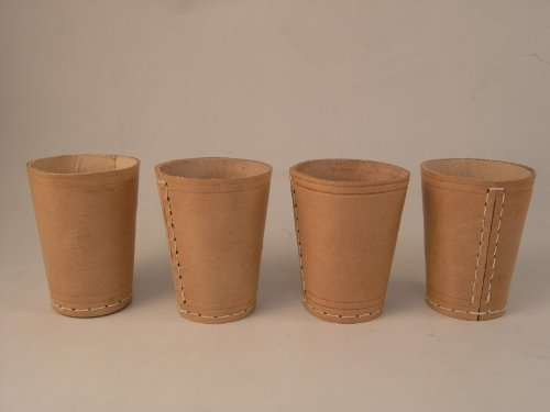Leather Dice Cup Set of 4 Ideal for Perudo - Yahtzee by David Westnedge exclusively for 24/7 Direct