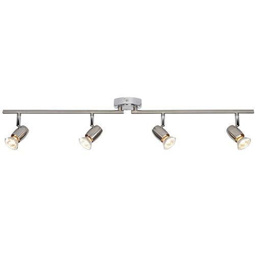 Justerbar huvud taklampa – borstad krom– fyrhjuling/4-vägs multiglödlampa GU10 bar nedljus – modern dimbar köksö/bänkskiva montering – 50 W Max & LED kompatibel