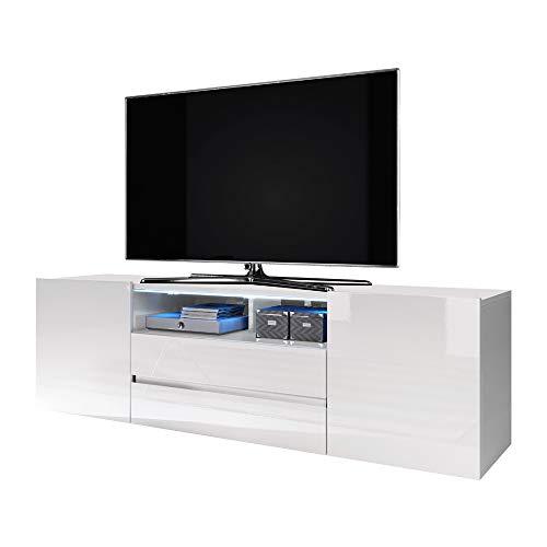 Selsey Bros - Mueble TV Minimalista/Mesa TV/Mueble para Salón/Mueble TV Moderno (con LED, Blanco Mate/Blanco Brillante)