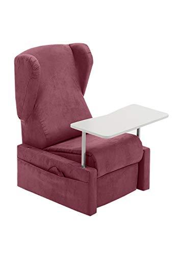 BELLAVITA Lifting & Reclining Relax Armchair mit 2 Motoren, Head Rest, Removable Armrest, Table & Rollers (rot), Elektrostuhl mit Rollen, Sessel für ältere Menschen, Behinderte