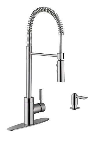 Soleil SS7556 Stainless Steel Pull Out Single Handle Kitchen Faucet in Brushed Nickel with Soap Dispenser