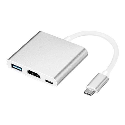 Geabon Adaptador USB C a HDMI 4K, Hub Adaptador tipo C HDMI Convertidor con puerto USB 3.0 y puerto de carga C USB Compatible con MacBook Pro iMac Chromebook Pixel/Dell/ Galaxy S9/S8/Note8/9