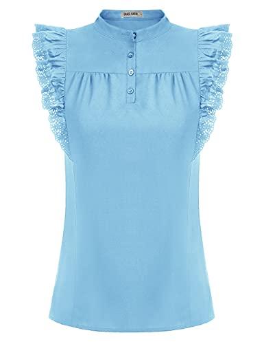 GRACE KARIN Damen Gothic Victorian Oberteile Hemd ärmellos Bluse Stehkragen bequem Tops M Hellblau CL93-4
