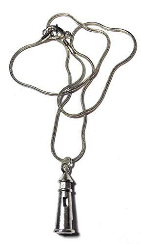 Regalos FizzyButton tono collar de cadena de plata antigua de la serpiente con la plata de la antigüedad del tono 3D Faro encanto en turquesa caja de regalo