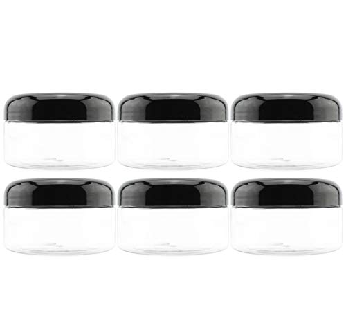 8oz Clear Plastic Jars with Black Plastic Lids 6 pack BPA Free PET Stackable Straight Sided Containers for Bathroom Kitchen Storage Slime Cosmetics