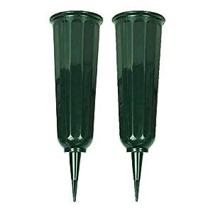 Black Duck Brand Green 9.75″ Plastic Cemetery Memorial Grave Flute Flower Vases; 2 Pack