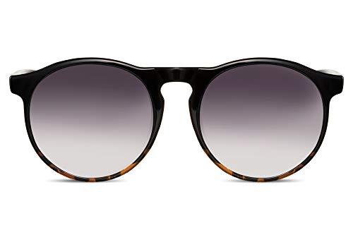 Cheapass Gafas de Sol Unisex Redondas Inspiración Diseñador Efecto Negra y Demi Protección UV400