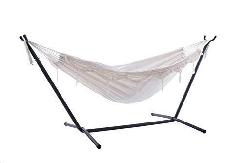 vivere uhsdo8–00doble algodón hamaca con hamaca, 250cm, beige, 249x 109x 104cm