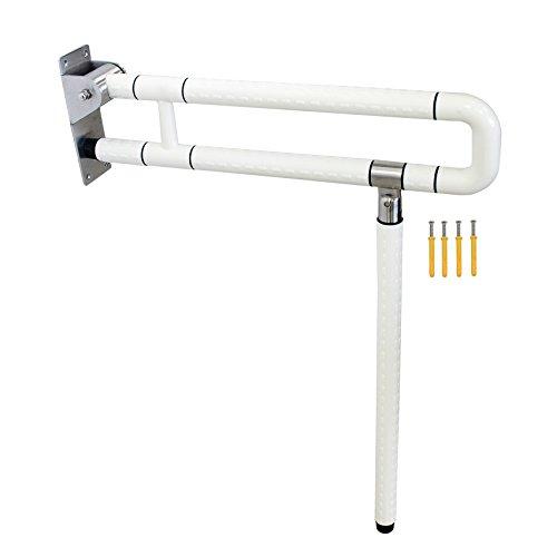 Signstek Bad Stützklappgriff faltbare Badezimmer Haltegriff mit Bein für alter Menschen, Gravida, Behinderte (weiß)