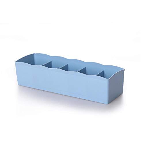 LLD 5 Zellen Socken Aufbewahrungsbox Wohnzimmer, Badezimmer Aufbewahrungsboxen Schubladenabtrennung aussortieren Kunststoff Schubladenorganisatoren Mehrzweck, Blau, 5 Zellen