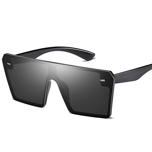 AZLMJXH Retro große quadratische Sonnenbrille, Männer und Frauen Trend der Vereinigten Staaten Trend Reis Nagel Sonnenbrille integrierte Gläser,Schwarz