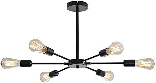 miwaimao Lámpara de techo Nordic con 6 luces, de hierro forjado, bombilla E27, para dormitorio, guardarropa, sala de estar, estudio, cocina