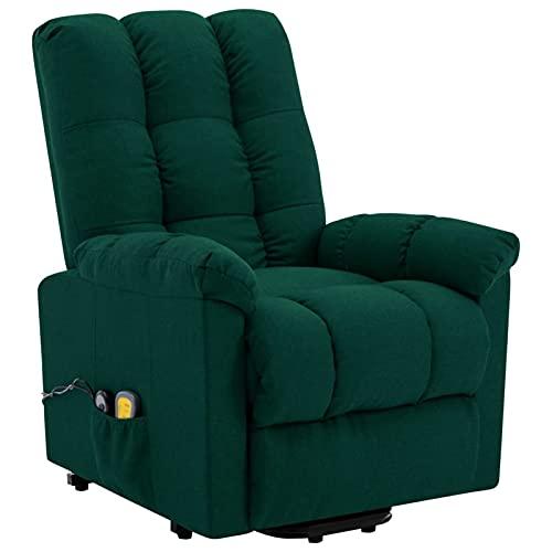 Gawany Sillón reclinable de Masaje Sillón Relax de Salón, Masaje de Vibración de 6 Puntos, Respaldo y Reposapiés Ajustable, Calentamiento Asiento de Tela Verde Oscuro