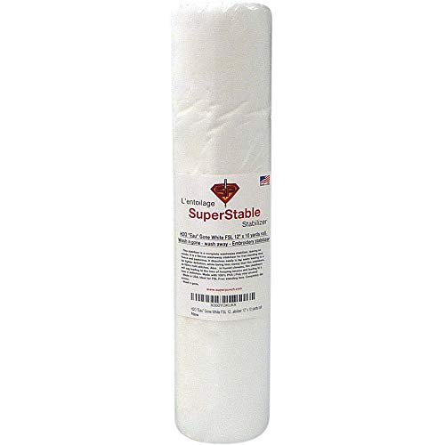 H2O Eau Gone White FSL 12 inch x 10 Yard Roll. Wash n Gone - Wash Away - SuperStable Embroidery Stabilizer Backing