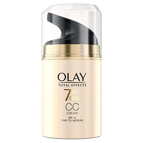Olay Total Effects 7-in-1 CC Feuchtigkeitscreme Mit LSF 15 Für Frauen, Helle Bis Mittlere Hauttypen 50ml, Tagescreme mit Vitamin E, B3 und B5, Sofortige Ebenmäßige Abdeckung, Gesichtscreme Damen
