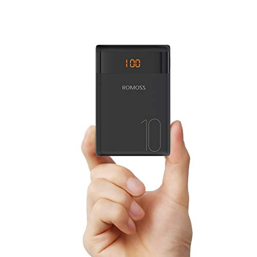 ROMOSS 10000mAh Mini Portable Charger External Battery Packs with Dual USB Output 2.1A LCD Display Perfect Carry for Travel, Compatible for iPhone X 10 8 Plus, Samsung Galaxy S8, Tablets More(Black)