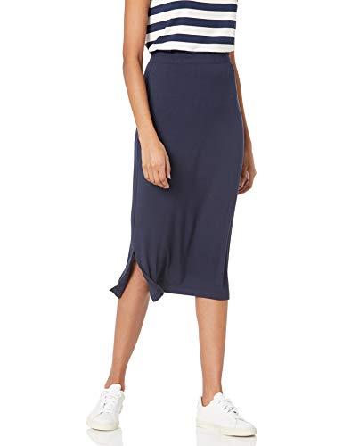Amazon Essentials Pull on Knit Midi Skirt Rock, Marineblau, M