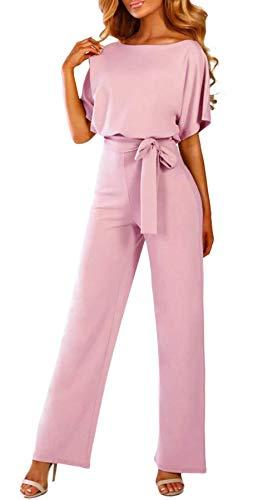 Anikigu Combinaisons Femme Sexy Manche Courte Combishort Taille Haute Chic pour Soirée Ete Coupe Droite Mode Pantalons Jumpsuit Clubwear, Rose