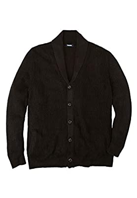 KingSize Men's Big & Tall Shaker Knit Shawl-Collar Cardigan Sweater - Tall - L, Black by KingSize