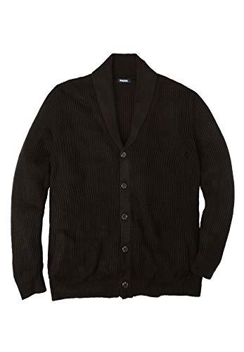 KingSize Men's Big & Tall Shaker Knit Shawl-Collar Cardigan Sweater - Tall - L, Black
