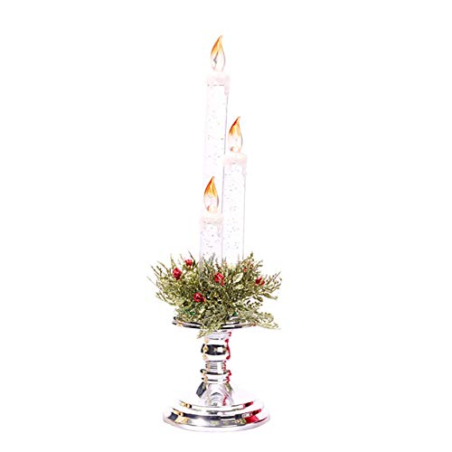 Aimik LED Candelabra, Electronic Light 3 LED Flameless Candles, Battery Operated Smokeless Electronic Candle Light for Christmas New Year Party Decoration, Removable Base (Silver)