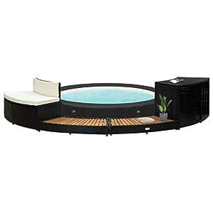 GOTOTOP Borde para bañera de Poli Rattan Negro Piscina de hidromasaje Jardín 289 x 124 x 56 cm Piscina de jardín con 2 peldaños Spa de madera maciza de acacia
