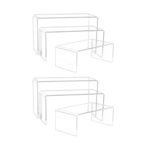 Exceart 6Pcs Acryl Display Riser 3 Größen Acryl Display Stand Klar Schaufenster Display Regal für Schmuck Figurensammlung Tasse Brille Schuhe Cupcake Buffet