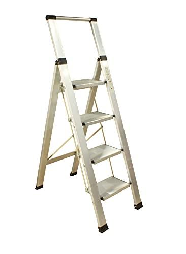 Escalera Aluminio Plegable 4 peldaños Extra Anchos, Escalera Taburete Super Plegable, Patas...