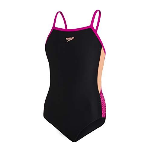 Speedo Dive Muscleback mit dünnen Trägern Mädchen Badeanzug, Schwarz/Neon Fire/Electric Pink, 15-16 Jahre