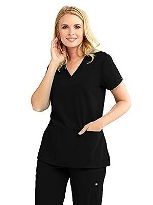 Grey's Anatomy Signature 2115 V-Neck 3 Pocket Top Black L
