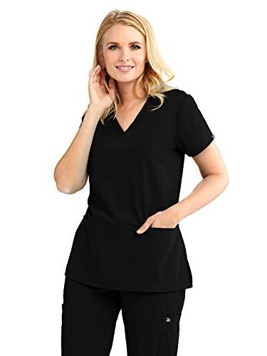 Grey's Anatomy Signature 2115 V-Neck 3 Pocket Top Black XS