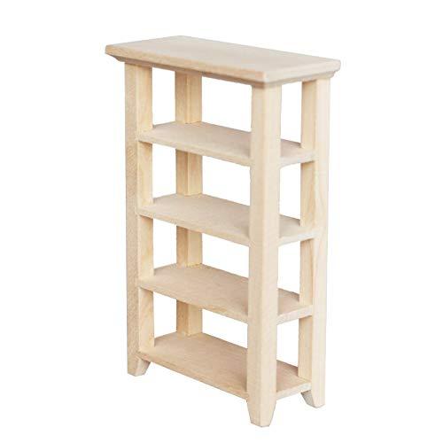 Whiie891203 Mini Furniture Micro Scene, 1/12 Mini Simulierte 4-lagige Lagerregal Möbel Modell DIY Zubehör Holz