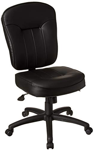 Boss Office Products Leather Adjustable Task Chair Without Arms, Black, B563