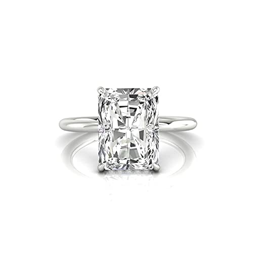 Diamondrensu Classic 2.39 CTW Anillo de compromiso de moissanita de corte radiante incoloro, halo oculto, anillo de boda, anillo de aniversario para mujeres, 18 K, Piedra preciosa. Metal precioso.,