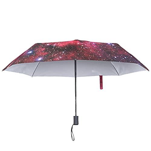Paraguas plegable con cierre abierto automático – Universo invertido UV 8 varillas paraguas invertido, White (Blanco) - Ouniaodao-UBR