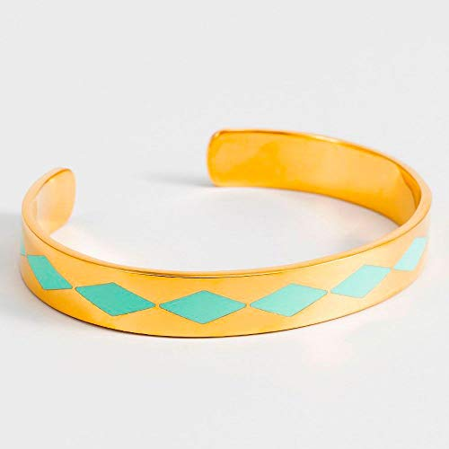 Mes-bijoux.fr armband open SAO Paulo email turquoise gouden afwerking