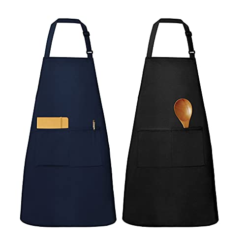 Yoofoss Schürze 2er Pack Wasserdichte Küchenschürze 76x73cm Verstellbare Kochschürze mit 2 Taschen als Kochschürze Damen Kochschürze Männer