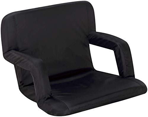 Naomi Home Venice Stadium Seat for Bleachers Portable Reclining with Armrest Black/Standard