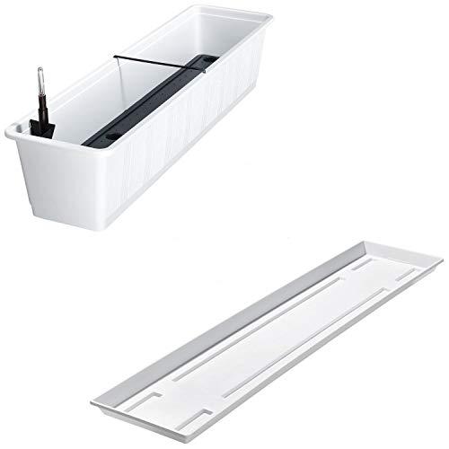 Balkonkasten Aqua Green Plus mit Bewässerung und Passendem Untersetzer, Farben:weiß 10, Länge:80 cm