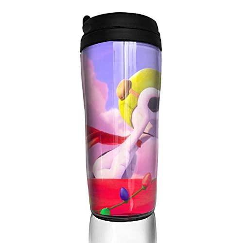Taza de café de dibujos animados Snoopy taza de agua reutilizable a prueba de fugas con tapa para 350 ml (parte inferior de la taza gruesa antideslizante)