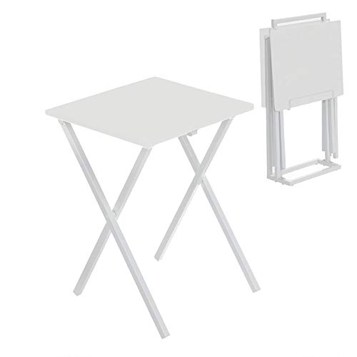 TIENDA EURASIA Mesa Plegable Cocina - Juego de 2 Mesitas Auxiliares con Soporte - 40 x 33,50 x 51 cm (Blanca)